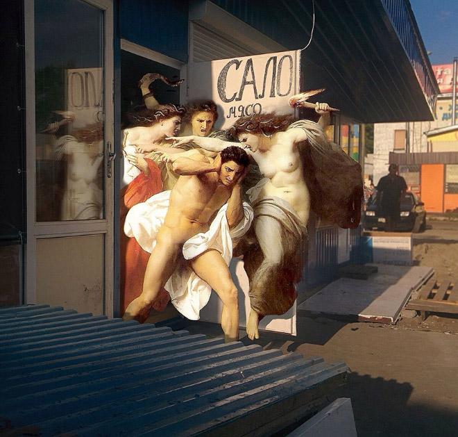 Cuando la pintura clásica entra al mundo moderno ...