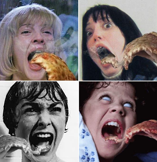 Cuando los gritos de una película de terror se encuentran con una pizza caliente ...