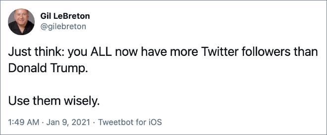 Solo piense: TODOS ustedes ahora tienen más seguidores en Twitter que Donald Trump.