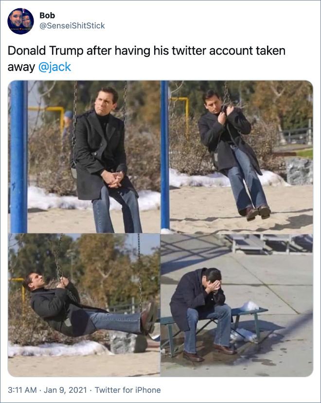 Donald Trump tras borrar su cuenta de Twitter