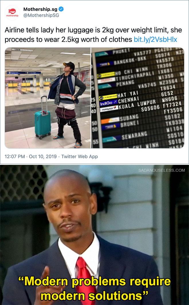 La aerolínea le dice a la señora que su equipaje excede el límite de peso de 2 kg, ella continúa cargando 2.5 kg de ropa