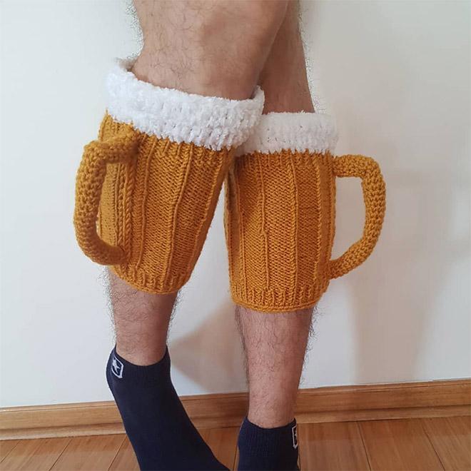 Calcetines de jarra de cerveza con asa 3D.