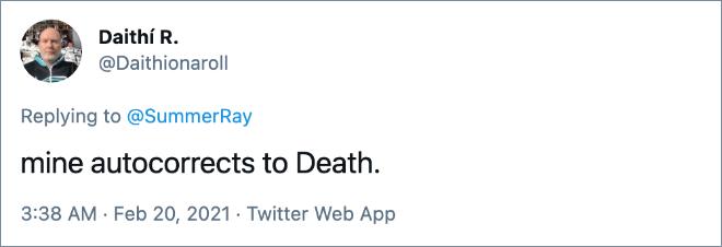 el mío se corrige automáticamente a la muerte.