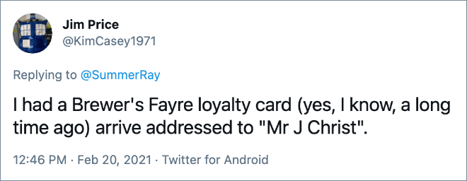 Tenía una tarjeta de fidelidad Brewer & # 39; s Fayre (sí, lo sé, hace mucho tiempo) que llegaba dirigida a