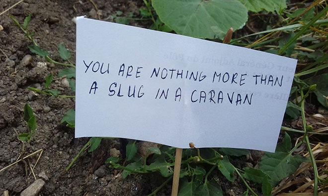 Una señal para ahuyentar a los caracoles.