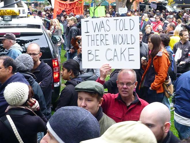 Signo de protesta hilarante y educado.
