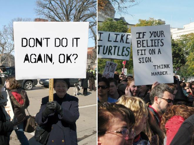 Señales de protesta divertidas y educadas.
