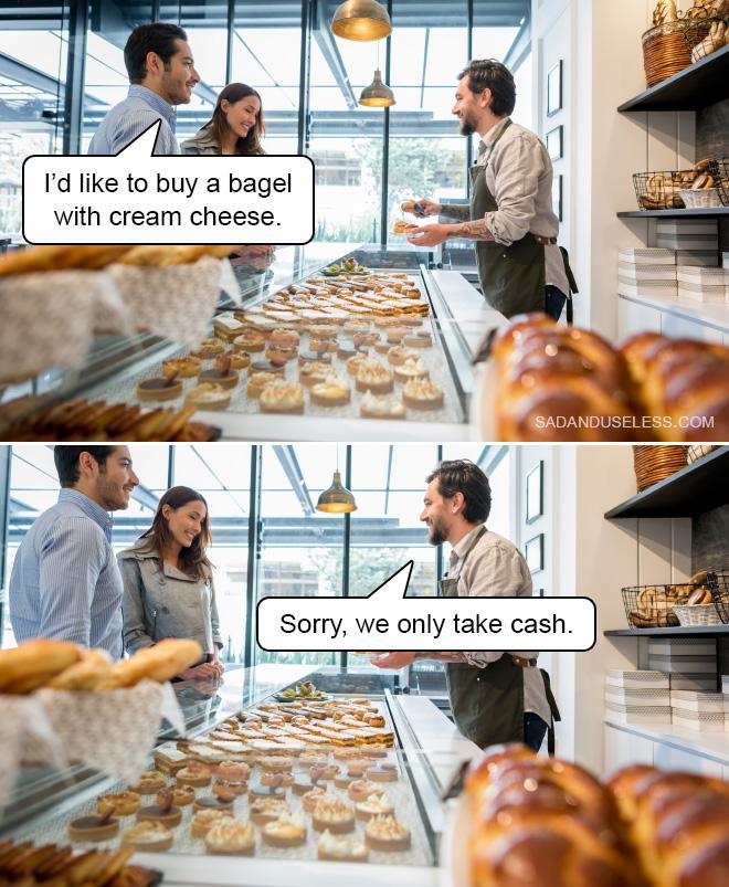 Me encantaría comprar un bagel con queso crema.